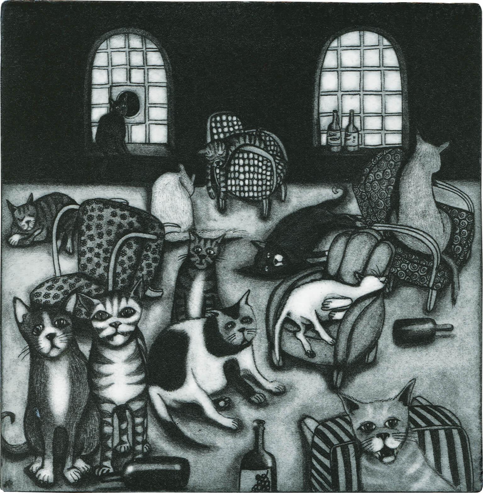 Radierung: Katzenjammer