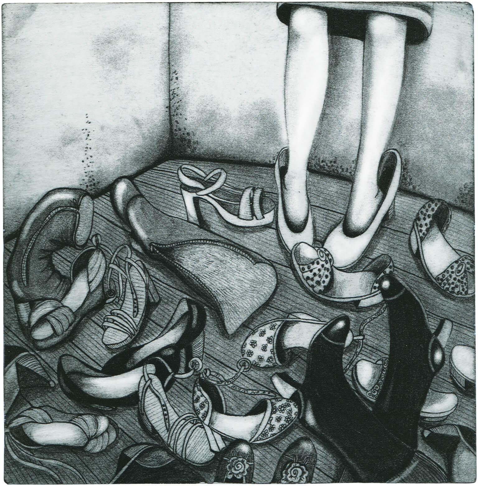 Radierung: Schuhe