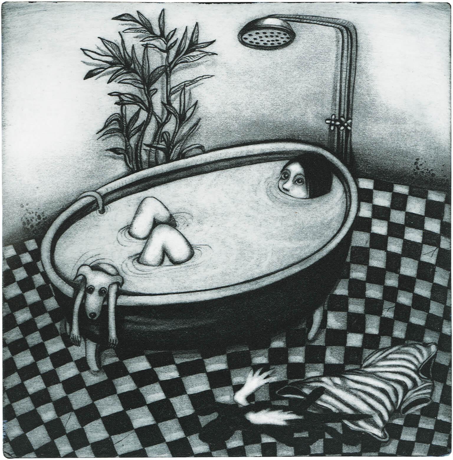Radierung: Badewanne