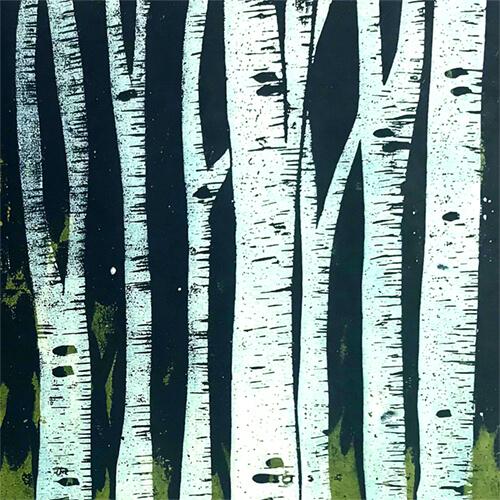 Holzschnitt: Birkenwald