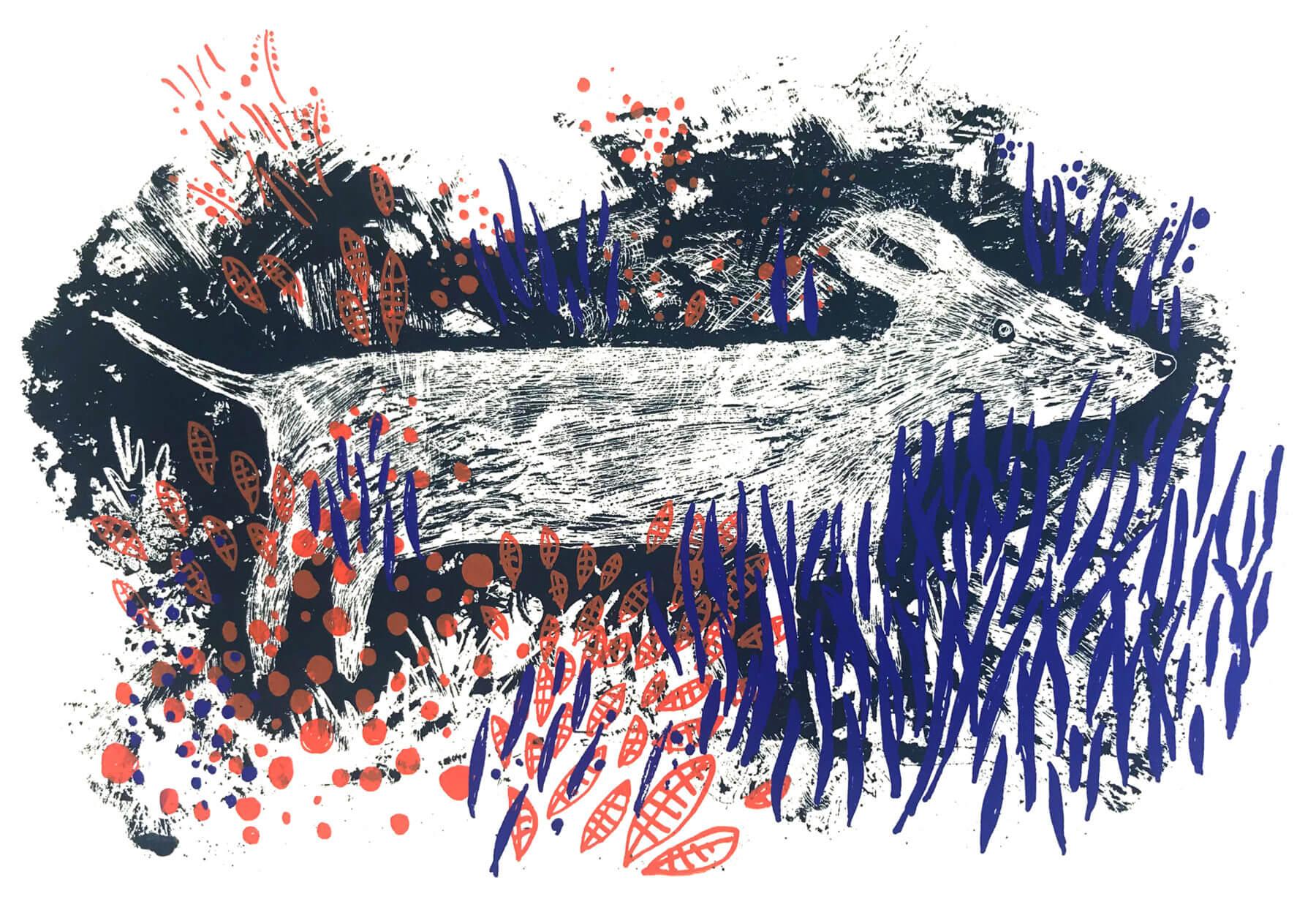 Siebdruck: Hund im Gebüsch