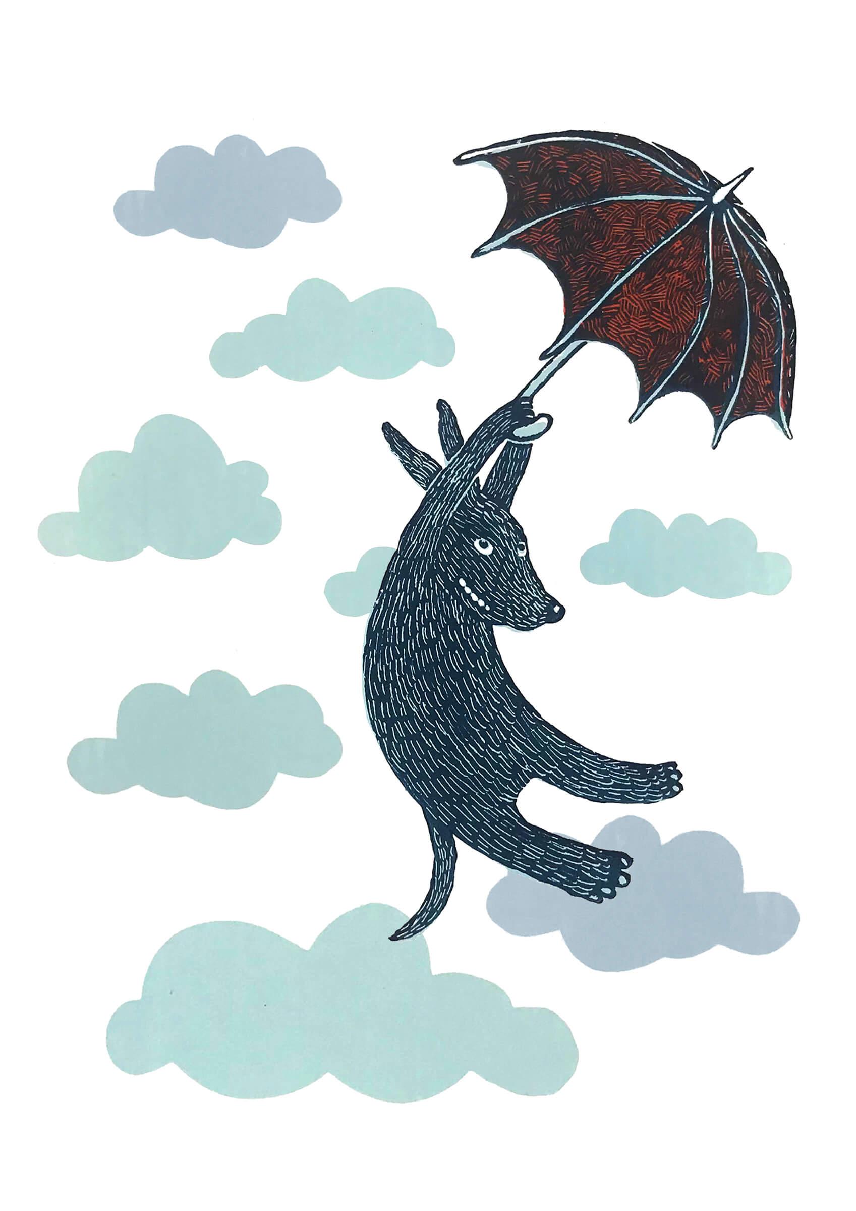 Siebdruck: Regenschirmhund